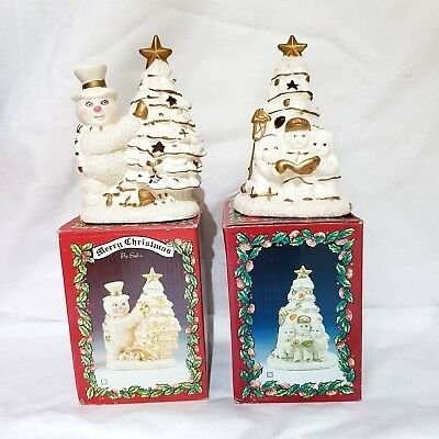 Set of 2 ceramic Snowman Christmas Tree Candle Holder White Decorations by Salco