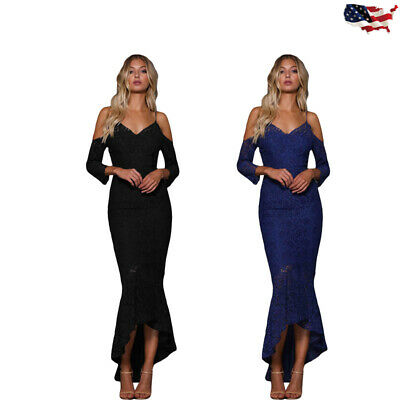 Women Maxi Cami Mermaid Dress Cocktail Long Sleeve VNeck Cold Shoulder Lace Sexy
