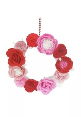 de2ab0302 Valentine's Day Felt Floral Wreath W/ Iron Base~Spritz~Red & Pink Roses