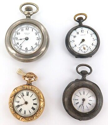 5 Lot Of Large Antique Pocket Watches 23j Locomotive Special For Repair No Res