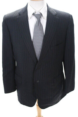Executive Collection By Tom James Mens Two Button Blazer Gray Striped Size 42R