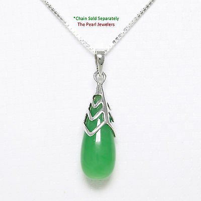 Solid 925 Sterling Silver Hand Crafted Raindrop Shape Green Jade Pendant - TPJ
