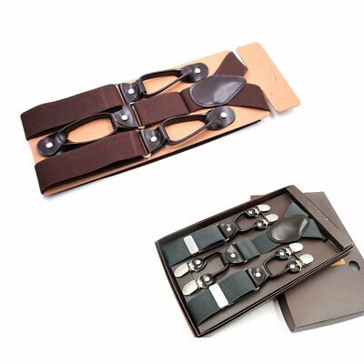 Handsome MENS 6 BUTTON HOLE SUSPENDERS Wide PU Leather Braces 3.5CM NEW YS