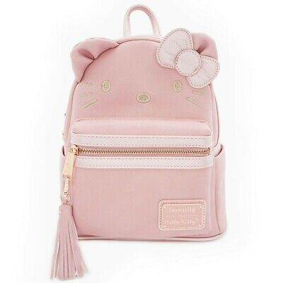 $ New LOUNGEFLY School Backpack Bag SANRIO HELLO KITTY Purse PINK Rose Tassel