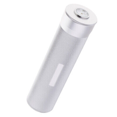 Portable Travel Cylindrical Cigar Hydrating Tube Humidor w/Hygrometer Silver