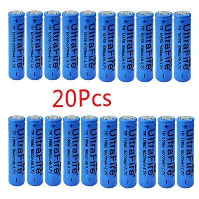20X Ultrafire 18650 6000mAh Battery 3.7 Lithium Rechargeable Batteries Cell CA