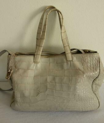 ** FURLA Croc Embossed Cream-Beige Leather Handbag Shoulder Cross Body Bag