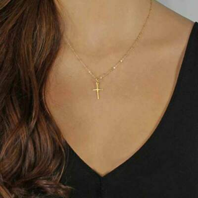 Fashion Gold Chain Cross Necklace Small Gold Cross Religious Jewelry For Woman