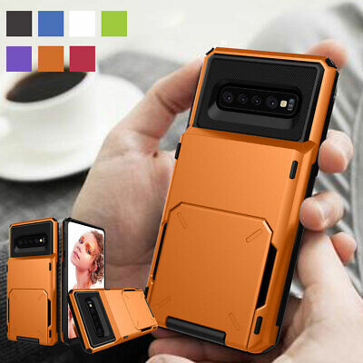 Shockproof Hybrid Card Holder Wallet Armor Case For Samsung Galaxy S10 Plus S10e