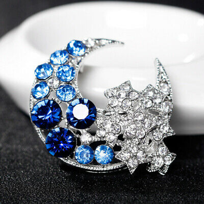 Blue Purple Crescent Moon Alloy Metal Plating Enamel Rhinestone Pin Brooch