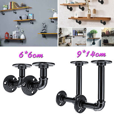 4Pcs Retro Steampunk Industrial Pipe Wall Shelf Bracket Rack Holder DIY Decor