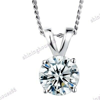 Radient Sale 18k White Gold Cubic Zirconia Solitaire Anniversary Classic Pendant Bridal & Wedding Party Jewelry