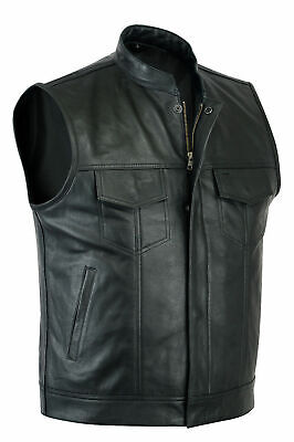 SOA Sons of Anarchy Leather Waistcoat Top Quality Cowhide Motorcycle Biker Vest