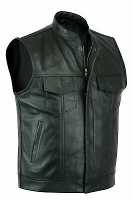 Sons of Anarchy Real Leather Mens Waistcoat Motorcycle Biker Vest UK Stock