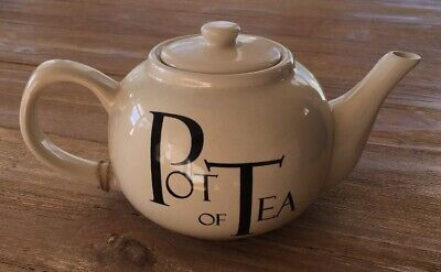 "THE OLD POTTERY COMPANY Ivory Glaze Teapot Black ""A Pot Of Tea""  NEW with Tag!!"