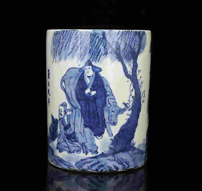 China Collectible Hand-Painted Blue And White Porcelain Brush Pot Tabletop Decor