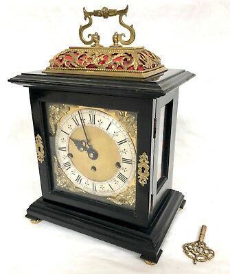 Vintage Ebonoised Musical 3 Tunes Bracket Clock : Antique William & Mary Style