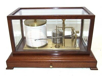 SEWILLS LIVERPOOL Mahogany Cased Bevelled Glass Barograph & Chart Drawer (85)