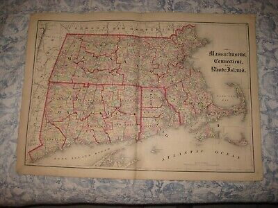Large Antique 1875 Massachusetts Connecticut Rhode Island Handcolr Map Nantucket