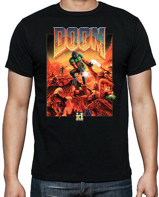Doom Classic Arcade Console Shooter Game Monsters Sci-Fi Mens Black T Shirt
