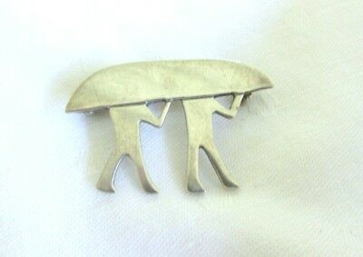 Vtg Sterling Silver Pin Brooch Two Men Carrying Boat