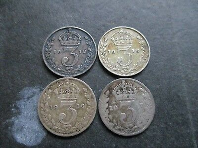 1912, 1916, 1917 GEORGE V SOLID SILVER THREEPENCE COINS ( 4 x COINS TOTAL )