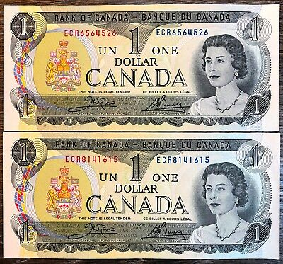 Lot of 2x 1973 Bank of Canada $1 One Dollar Banknotes - Crisp Uncirculated