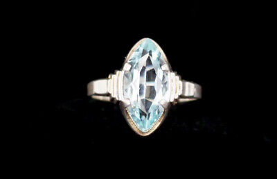 Antique Art Deco Sterling Silver Light Blue Marquis Cut Paste Stone Ring 6.5