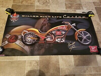 (VTG) miller High life beer Kendall Johnson motorcycle bike garage bar poster