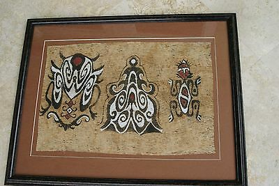 "Rare Framed Tapa Kapa Sentani Bark Cloth Unique Abstract Painting DFBA4 28""X22""-"
