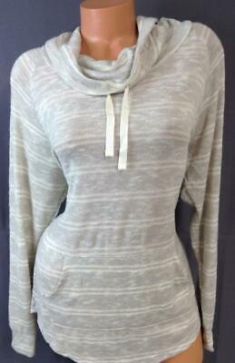 Ultra flirt beige plus striped drawstring cowl neck kangaroo pocket knit top XL