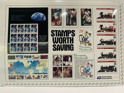 Set of 2 USPS Vintage Counter Mat with Trains, World cup 94, Norman Rockwell..