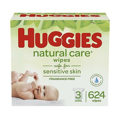 HUGGIES Natural Care Unscented Baby Wipes, Sensitive, 3 Refill Packs (624 Tot...