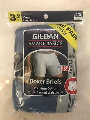 Gildan Smart Boxer Briefs Premium Cotton expose Waistband Large Blue-Navy 3 Pack