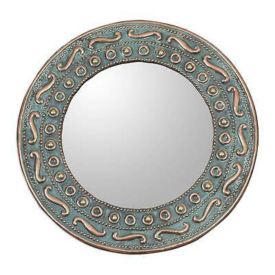 Copper Bronze Wall Mirror 'Colonial Rays' 11 inches Handcrafted Art NOVICA Peru