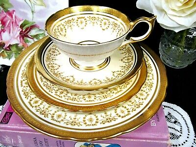 AYNSLEY tea cup and saucer trio & plate Gold Dowery  24kt etched gold teacup set
