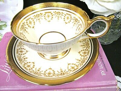 AYNSLEY tea cup and saucer  Gold Dowery  24kt etched gold teacup athens shape