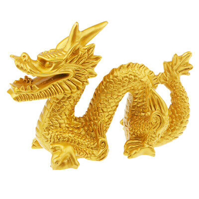 Chinese Lucky Feng Shui Gold Resin Dragon Figurine Home Decoration Craft