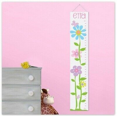 Personalized Girls Canvas Height Chart Butterflies and Flowers Girls Room Decor