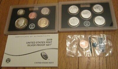 2019 Silver Proof Set 10 coins + W Penny U.S. Mint Box and COA  19RH