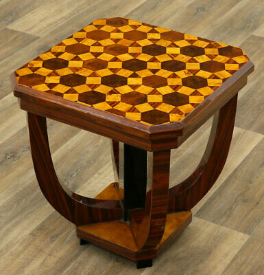 FRENCH ART DECO PARQUETRY STYLE COFFEE TABLE, Beistelltisch, JAZZ AGE TABLE TOP