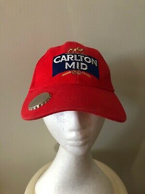 Carlton Mid Beer Red Cap Hat with Bottle Cap Opener on Brim - Adjustable Back