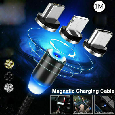 Braided Magnetic Lightning Plug Magnet MicroUSB/ C/iOS iPhone Fast Charger Cable