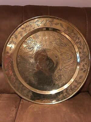 LARGE ANTIQUE CHINESE BRASS 56.5 cms ROUND TRAY WITH DRAGON DECORATION