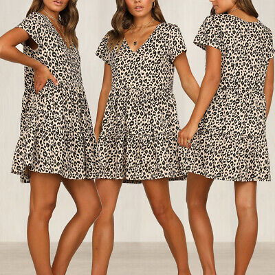 Womens Leopard Ruffle V Neck Boho Holiday Summer Beach Cocktail Party Dresses
