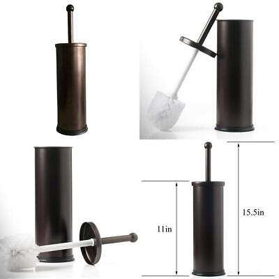 Resistant Bronze Toilet Brush Holder with Lid Perfect Bathroom Bowl Cleaning Set
