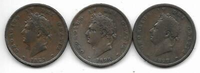 1825 1826 1827 George IV Copper One Penny Coins Fair (3)