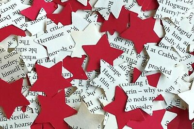 Vintage Tea Party Table Confetti-Harry Potter & Red Paper Rustic Star-Gryffindor