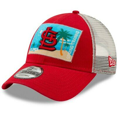 half off 60dd6 8b331 New Era St. Louis Cardinals Red White Patched Trucker 3 9FORTY Adjustable