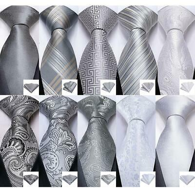 UK Silver White Gray Paisley Striped Check Silk Tie Set Necktie Wedding Party